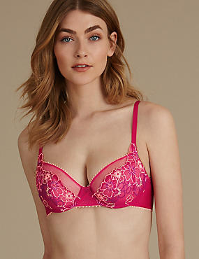 Multi Floral Embroidered Non-Padded Balcony Bra A-E, PINK MIX, catlanding