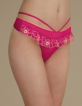 Multi Floral Embroidered Skirted Thong, PINK MIX, catlanding