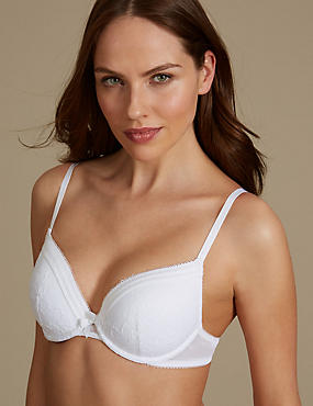 Lace Padded Plunge Bra A-E, WHITE, catlanding