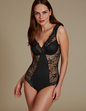 Eyelash Lace Built Up Shoulder Body , BLACK, catlanding