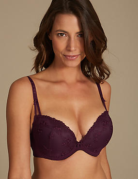 2 Pack Embroidered Padded Plunge Bra DD-G, PURPLE MIX, catlanding