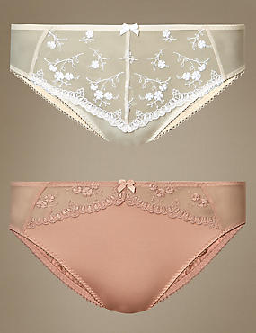 2 Pack Embroidered High Leg Knickers, NUDE MIX, catlanding