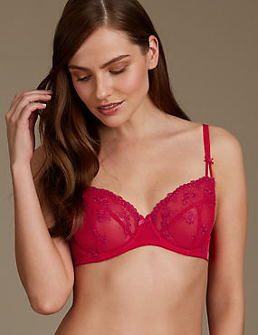 2 Pack Embroidered Non Padded Balcony Bra A-E, RED MIX, catlanding