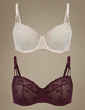 2 Pack Embroidered Non-Padded Balcony Bra A-E, PURPLE MIX, catlanding