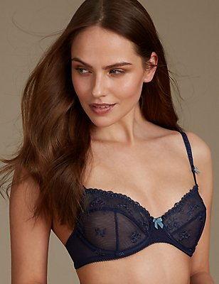 2 Pack Embroidered Non-Padded Balcony Bra A-E, BLUE MIX, catlanding