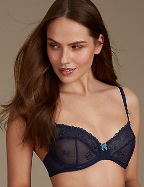 2 Pack Embroidered Non Padded Balcony Bra A-E, BLUE MIX, catlanding