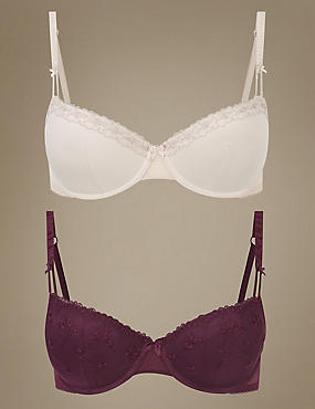 2 Pack Embroidered Padded Push Up Bra A-E, PURPLE MIX, catlanding
