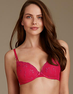 2 Pack Embroidered Padded Plunge Bras, RED MIX, catlanding