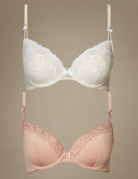 2 Pack Embroidered Padded Plunge Bras, NUDE MIX, catlanding