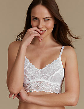 Isabella Lace Bralet, WHITE, catlanding