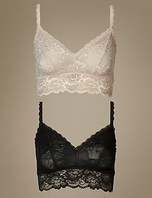 2 Pack Isabella Lace Bralets, BLACK MIX, catlanding