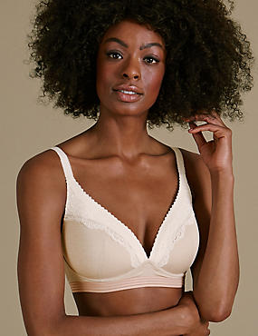 Athleisure Lace Lounge Plunge Bra A-E, CREAM MIX, catlanding
