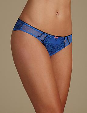 Lace Brazilian Knickers, BLUE MIX, catlanding