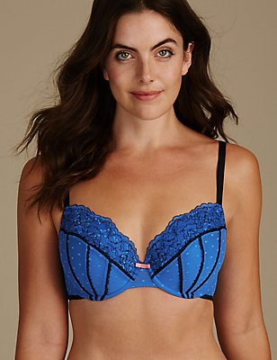 Lace Padded Balcony Bra A-E, BLUE MIX, catlanding