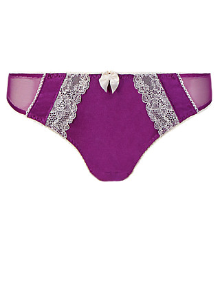 Floral Lace Low Rise Brazilian Knickers with Silk Clothing