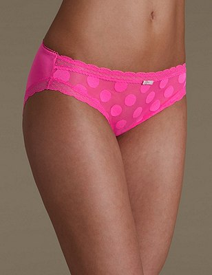 2 Pack Spotted High Leg Knickers, PINK MIX, catlanding