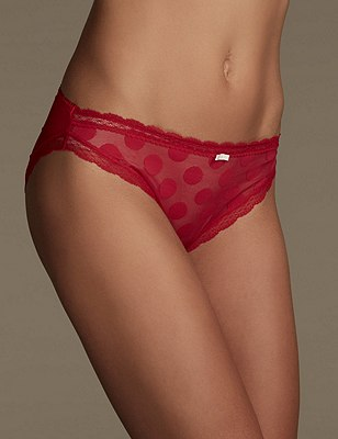 2 Pack Spotted High Leg Knickers, RED MIX, catlanding
