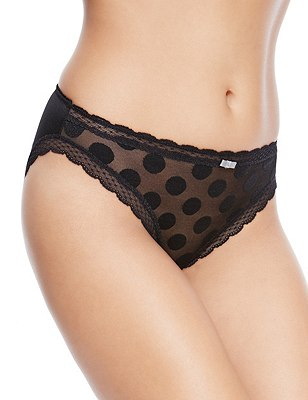 2 Pack Spotted High Leg Knickers, BLACK MIX, catlanding