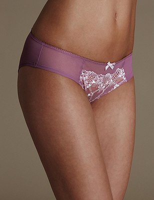 2 Pack Floral Embroidered Brazilian Knickers, PURPLE MIX, catlanding