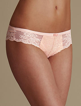 Eyelash Lace Low Rise Brazilian Knickers, PINK MIX, catlanding