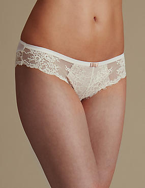 Eyelash Lace Low Rise Brazilian Knickers, WHITE, catlanding