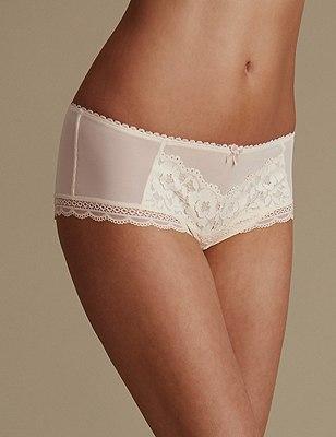 Floral Lace Shorts, CREAM, catlanding