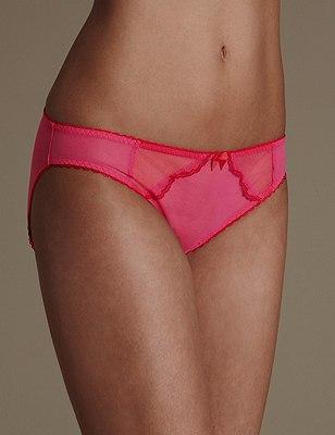 Sheer Scallop Trim Bikini Knickers, PINK MIX, catlanding