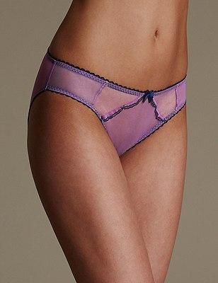 Sheer Scallop Trim Bikini Knickers, PURPLE MIX, catlanding