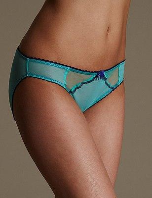 Sheer Scallop Trim Bikini Knickers, RICH AQUA, catlanding