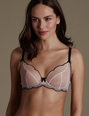 Sheer Scallop Embroidered Non-Padded Balcony Bra A-E, NUDE MIX, catlanding
