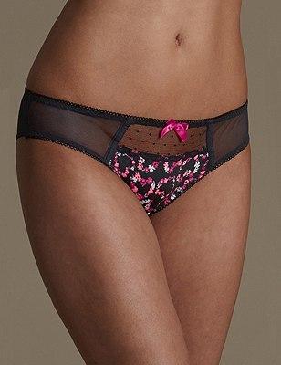 Floral Lace Brazilian Knickers, BLACK MIX, catlanding