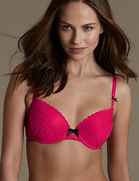 Spotted Textured Padded Balcony Bra A-DD