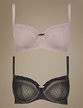 2 Pair Pack Textured & Lace Non-Padded Balcony Bras DD-GG
