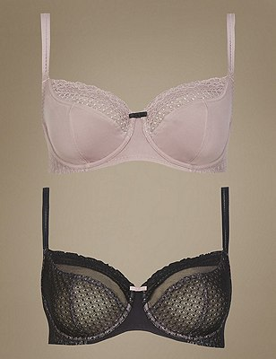 2 Pair Pack Textured & Lace Non-Padded Balcony Bras DD-GG, BLACK MIX, catlanding