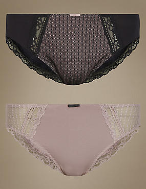 2 Pack Texture & Lace High Leg Knickers, BLACK MIX, catlanding