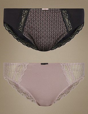 2 Pack Textured & Lace High Leg Knickers, BLACK MIX, catlanding