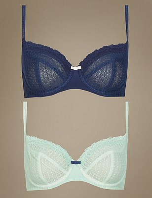 2 Pair Pack Lace Non-Padded Full Cup Balcony Bras A-DD, GREEN MIX, catlanding