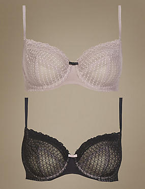 2 Pair Pack Lace Non-Padded Full Cup Balcony Bras A-DD