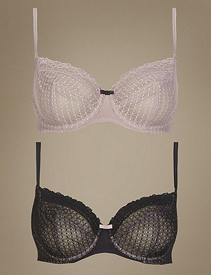 2 Pair Pack Lace Non-Padded Full Cup Balcony Bras A-DD, BLACK MIX, catlanding