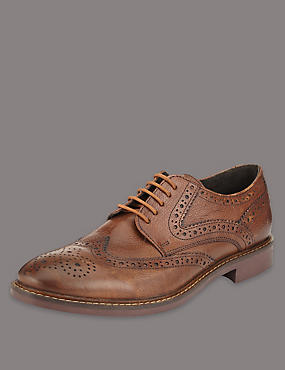 Big & Tall Leather Brogue Shoes, TAN, catlanding