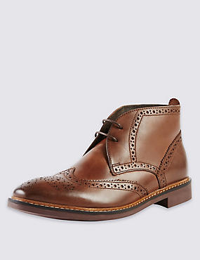 Leather Brogue Chukka Boots, BROWN, catlanding
