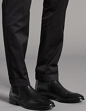 Leather Pull-on Chelsea Boots, BLACK, catlanding