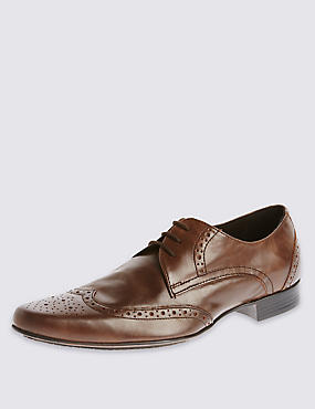 Leather Pointed Brogue Shoes, BROWN, catlanding