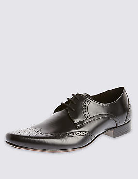 Leather Pointed Brogue Shoes, BLACK, catlanding