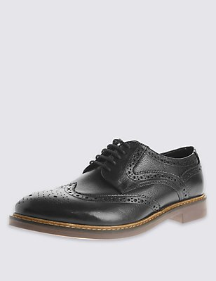 Extra Wide Fit Leather Brogue Shoes, BLACK, catlanding