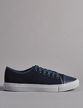 Leather Lace-up Trainers , NAVY, catlanding