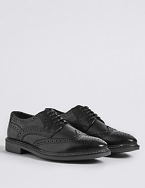 Leather Lace Up Brogue Shoes, BLACK, catlanding