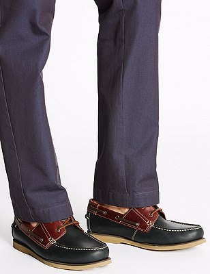 Big & Tall Leather Lace Up Boat Shoes, NAVY, catlanding