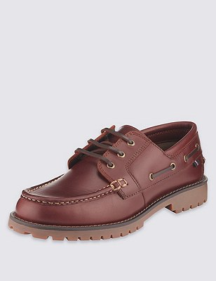 Big & Tall Leather Heavyweight Boat Shoes, TAN, catlanding