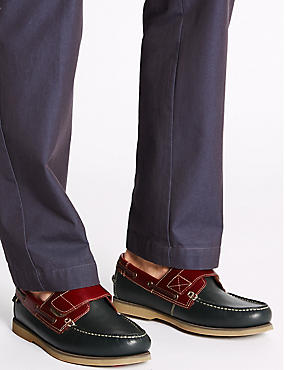 Leather Riptape Boat Shoes, NAVY, catlanding